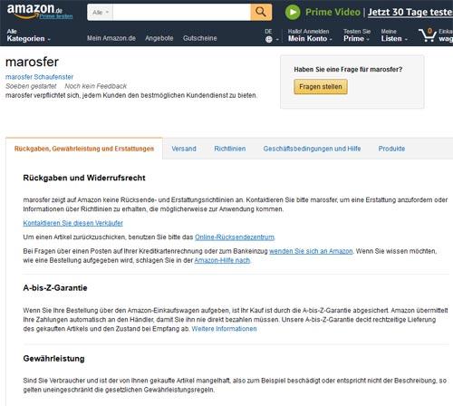 Amazon Verkäufer ohne Impressum